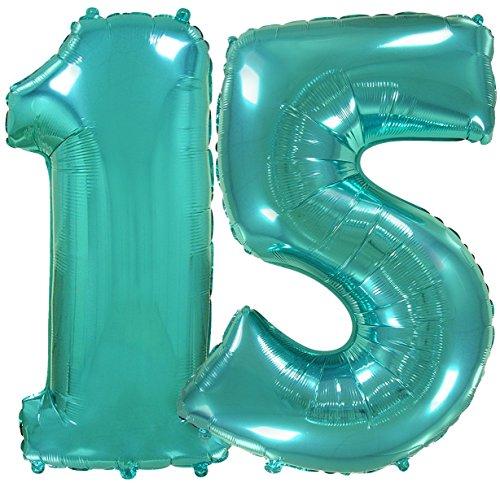 FIESTADEKOR (Turquesa) Globo número Gigante para Fiestas de cumpleaños, XXL Medida 100 cm, inflándolo con Helio flotará Durante 5/6 días. (NÚMERO 15)