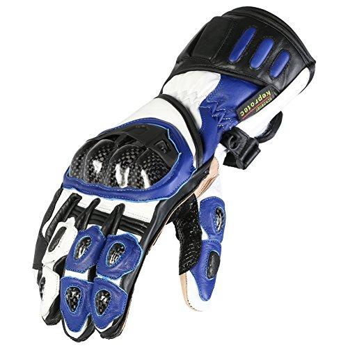 Texpeed - Guanti in pelle per motociclismo - protettivi - blu e neri - L (9 Guanto)
