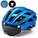 Victgoal Fahrradhelm Herren Damen Erwachsene Fahrrad Zyklus Helm Magnetischer Visier-Schutzbrille mit LED-Rücklicht 57-61 cm (Metal Blue)