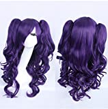 Women 30Inch(75cm) Long Curly Fading Color Full Wig Cosplay Wig Party Daily Wig (Blue)