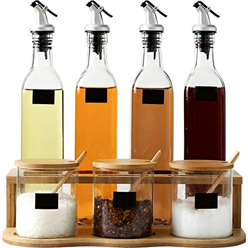 Jansudy bottiglia di condimento per la casa in vetro set di barattoli per spezie per olio/salsa di soia/essenza di pollo/sale/pepe