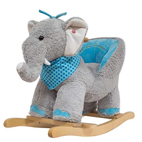 LINGZHIGAN Elefant Kinder Schaukelstuhl Massivholz Mit Musik Dual-use Baby Schaukel Wiegen Schaukelstuhl Baby Alter Massivholz Geschenk (Farbe : No Wheel)