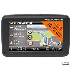 "Medion MD 98007 E4260 Navigationsystem 4,3"" 10,9cm 4GB intern, GoPal 6, Westeuropa, TMC, TTS, Fahrspurassistent, Geschwindigkeitsratgeber, Tunnelassistent, Clever Routes"