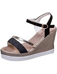 EOZY Femmes Épais Gladiateur Sandales à Lanières Talon Compensé Chaussures Plage Été Shoes