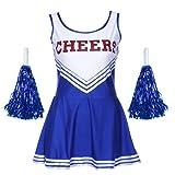 Anladia Cheerleader Kostuem Uniform Cheerleading Cheer Leader Minirock GOGO Damen Maedchen mit 2 Pompoms Karneval Kostuem -