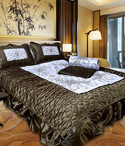 Namaste India Satin Gold Printed Double Bed Bedding Wedding Set 1 Double Bed Bedsheet:: 2 Pillow Cover:: 1 Double Bed AC Comforter:: 2 Filled Cushions:: 2 Filled Bolsters