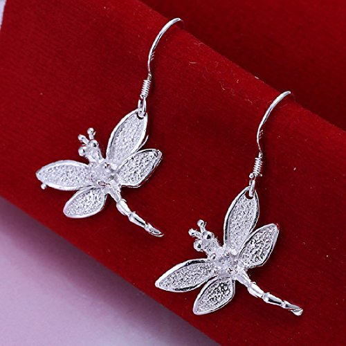 Elegant Fashion Jewelry 925 Silver Plated Stud Dangle Earings Eardrop Dragonfly With Zircon