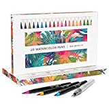 Genuine Crafts Watercolor Brush Pen Set - 20 Premium Colors - Real Brush