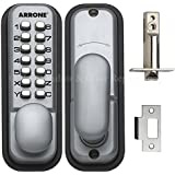 Hoppe 87128205arrone AR/d-195mc de puerta botón Digital Key Pad Lock, color plateado