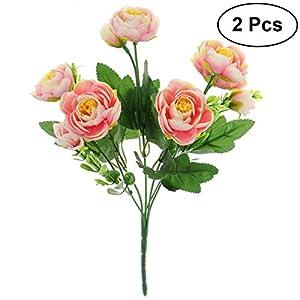 TOYANDONA 2pcs Flores Artificiales de Camelia Ramo de Plantas Falsas para Paquete para la Boda de la decoración del…