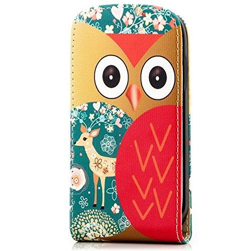 Saxonia Apple iPhone SE 5 5S Coque Flip Cover Etui Housse Protection à Rabat Vertical Fermeture magnétique Blanc Slim Auge-Owl