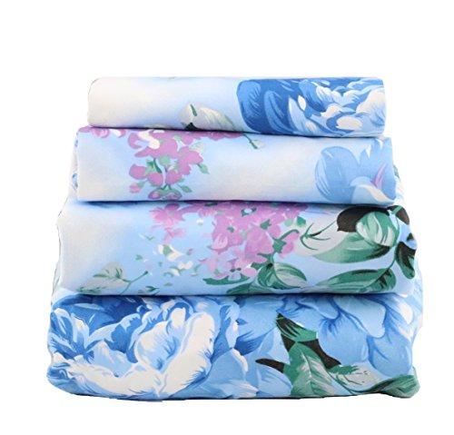 JAYCORNER 1800 Serie Super weicher ägyptischer Komfort 4 Stück Blau & Lavendel Blumenblau Queen Lavender, Blue -