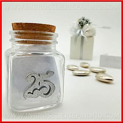 Ingrosso e risparmio 12 barattolini in vetro con tappo in sughero decorati con legnetto a forma di numero 25 argentato confettata nozze d'argento (con confetti bianchi)