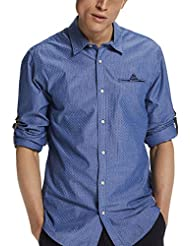 Scotch & Soda Longsleeve Shirt with All-Over Printed Fixed Pochet, Chemise de Loisirs Homme