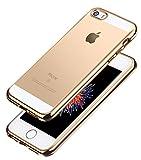 iPhone SE Hülle Case, Aostar Soft Flex Transparent Silikon TPU Schutzhülle Durchsichtig Crystal Clear Cover Stoßfest Handyhülle Tasche für iPhone 5S/5, iPhone SE (Gold)