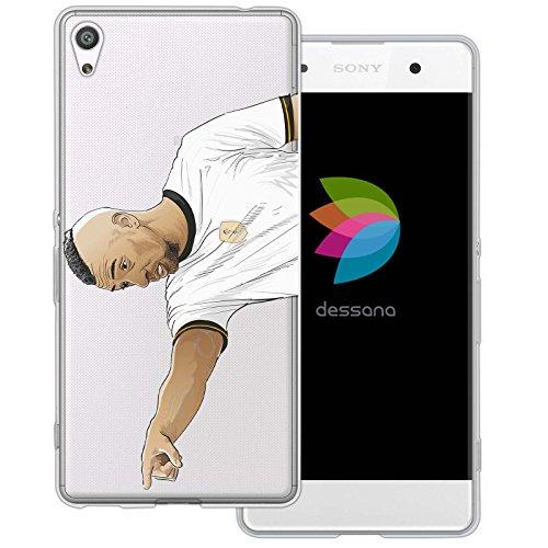 dessana Fußballer Transparente Silikon TPU Schutzhülle 0,7mm Dünne Handy Tasche Soft Case für Sony Xperia XA Mittelfeld Spieler