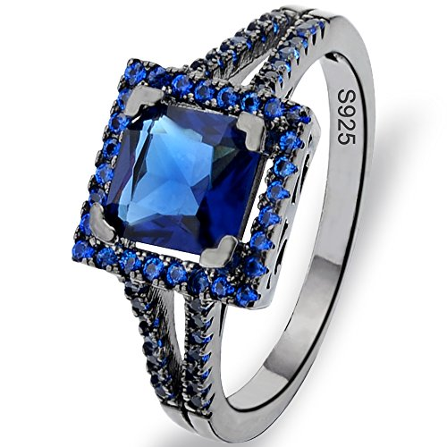 Flyonce Black 925 Sterling Silver Princess Cut Sapphire Color .25ct Zirconia Cocktail Ring Size S