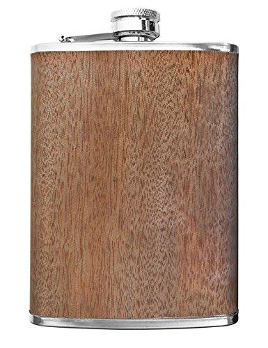 Outdoor Saxx® - en Acier Inoxydable Flasque Wood - Poches de qualité Bouteille Motif Whisky, de Schnaps - 260 ML - Fermoir à Visser. Idée de Cadeau - Bois Chêne