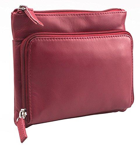 Visconti Atlantic - Handtasche / Umhängetasche für Damen - weiches Echtleder - # 01684 Rot