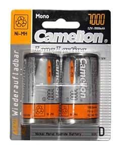 CAMELION Rechargable Batteries. Nickel Metal Hydrid Mono. Type D. 1.2V. 7000MAH . 2 Pcs per Blister