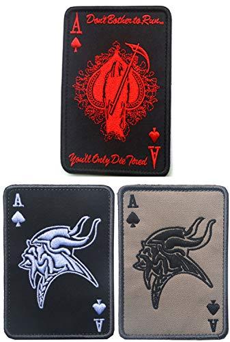 Xinermei Patches Klett Militär Aufkleber Abzeichen Stickerei Klettbänder für Rucksäcke 4 pcs Death Card Rectangular Patch (C 3 PCS)