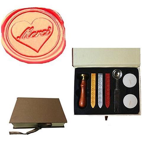 mdlg Vintage merci in Cuore Logo immagine personalizzata Invito di Matrimonio di ceralacca sigillo timbro set kit Box Kit - America Del Sigillo