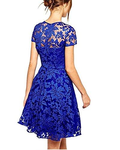 Babyonline Damen Spitze Minikleider Abendkleider Kurz Cocktailkleid Kurz Spitzenkleider S-5XL Blau