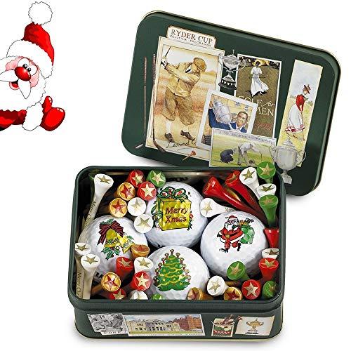 Regalo de Navidad para un golfista: caja metálica con Ryder-cup motivos, lleno de 4 pelotas de golf de navidad y Navidad tees