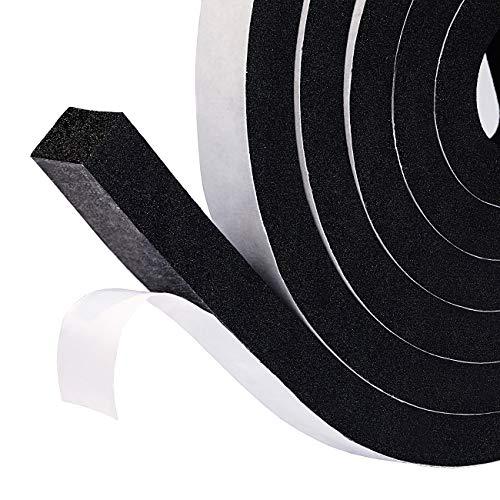 2Pack Selbstklebend Schaumstoff Klebeband 12mm (B)x10mm(D)x2m(L) Dichtungsband für Türen Fenster, Türdichtungen Gummidichtung mit hoher Dichte Anti-Kollision Gegen warme kalte Zugluft und Lärm schwarz