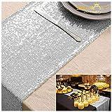 ShinyBeauty Tischläufer mit glitzernden Pailletten für Hochzeit/besondere Anlässe, 30 cm x 180 cm, silber, 12x72-Inch