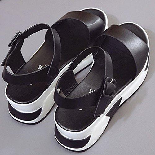 EOZY-Sandali con Zeppa Tacco Scarpe Donna Ragazza Cinturino alla Caviglia Spiaggia Vacanza Sandals Nero