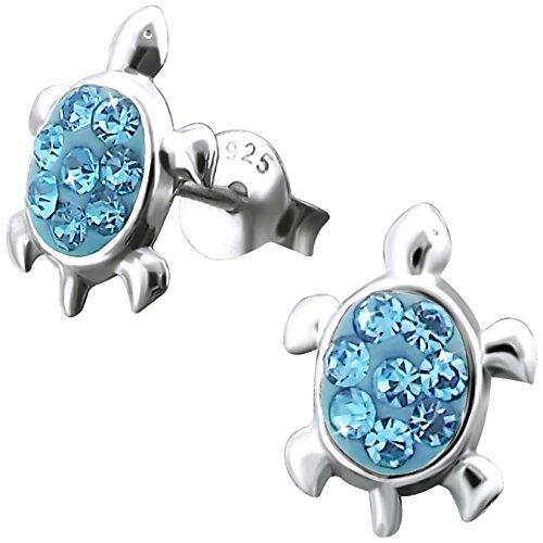 JAYARE Kinder Ohrstecker Schildkröten 925 Sterling Silber Glitzer Kristalle 11 x 8 mm blau im Geschenketui Mädchen Damen Ohrringe