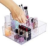 HBF Acryl Makeup Kosmetik Aufbewahrung Organizer mit der Hand tragen kann, Sortierkasten 8 Fächer Ständer Kosmetiktäschchen Haltung mit Griff