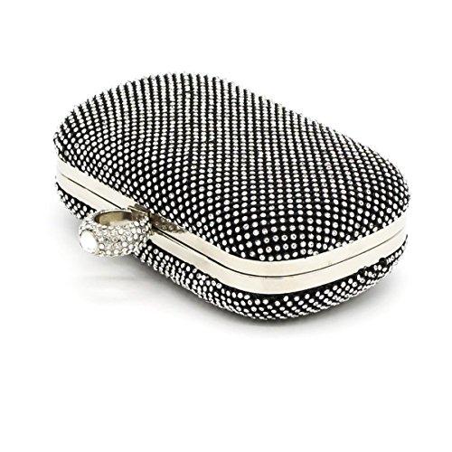 Party Bag Fashion Casual Sera Delle Signore Borsa Due Lati Punta Di Diamante Della Catena Della Spalla Black