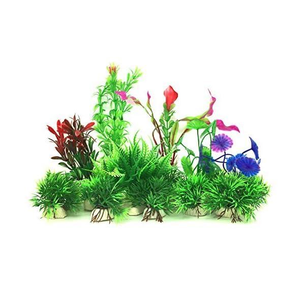 PietyPet Artificial Aquatic Plants, 16 Pcs Small Aquarium Plants Artificial Fish Tank Decorations, Vivid Simulation…
