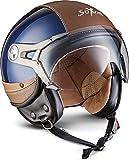 SOXON SP-325-URBAN Blue · Retro Biker Casque Jet Pilot Bobber Vintage Moto Mofa Chopper Demi-Jet Cruiser Vespa Scooter Helmet · ECE certifiés · conception en cuir · visière inclus · y compris le sac de casque · Bleu · XL (61-62cm)