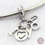 MOCCI Cadeau de Saint-Valentin Je t'aime Charme de Coeur Clair CZ Perle 925 Argent Bricolage Convient pour Original Pandora Bracelets Charme Bijoux de Mode