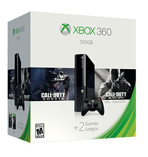 Xbox 360 E + Befehl + Call of Duty Ghosts + Call of Duty Black Ops 2-Konsole (500 GB) Farbe: Schwarz