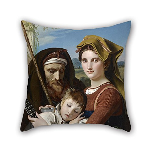 beautifulseason Throw Pillow Case of Oil Painting FrançOis-Joseph Navez - Roman Shepherd Family in The Campagna,for Bedroom,Home Theater,Club,Kids Room,Seat,Club 18 X 18 Inches/45 by 45 cm(doubl