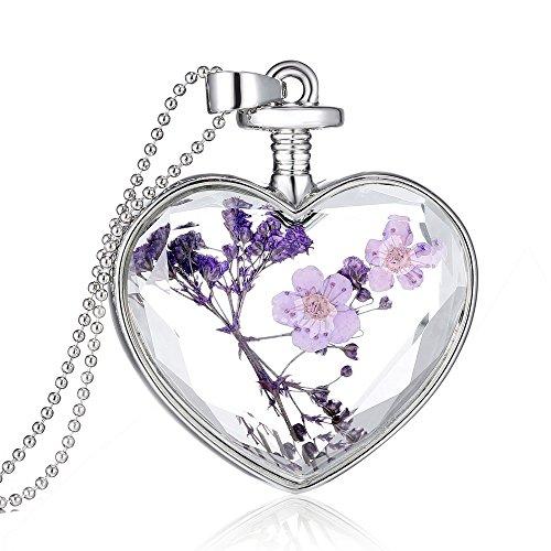 Feilok Klassik Herz-Form Transparente Kristall Damen Länge Kette Anhänger Halskette mit Trockene Blumen Lavendel...