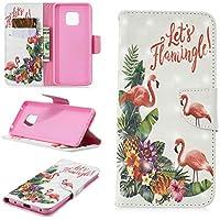 BONROY Hülle Case für Huawei Mate 20 Pro, Lederhülle PU Leder Flip Tasche Klappbar Schutzhülle Handyhülle mit [Ständer Funktion] Huawei Mate 20 Pro-(BF-3D bemalter Flamingo)