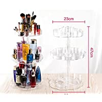 Takestop® estante estantes plexiglás 3d rotación 360grados flor puerta Almacenamiento 3estantes 7006Organizador Make Up Nail Art Pintalabios