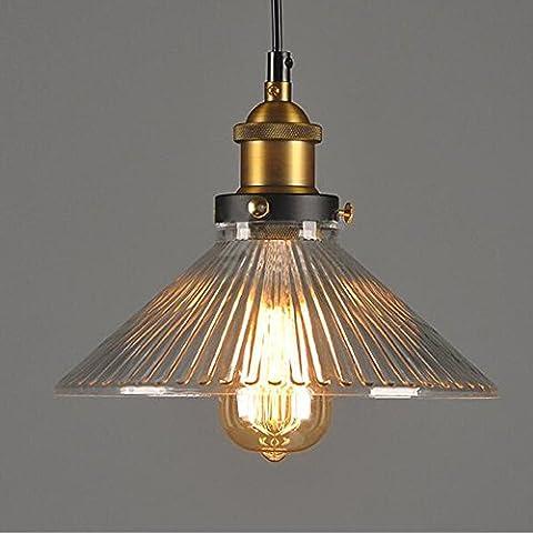 Vintage industriel Plafonnier, Vendilo épais Abat-jour en verre Loft rétro à suspendre lampe suspendue Luminaire Droplight pour café Bar de cuisine, Noir (E27Ampoules non incluses)