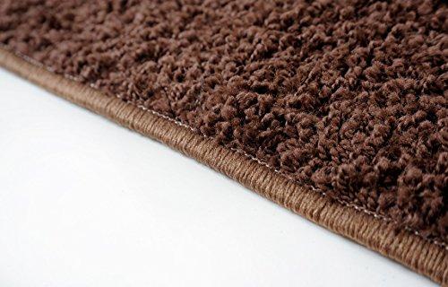 Shaggy Teppich Läufer Pulpo Braun nach Maß - versandkostenfrei schadstoffgeprüft pflegeleicht antistatisch schmutzresistent robust strapazierfähig Flur Diele Eingang Küche Wohnzimmer, Größe Auswählen:80 x 200 cm