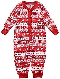 BESBOMIG Festivo Pijamas Familia Juego para Navidad - 2 Piezas/Mono Top Manga Larga Pantalones