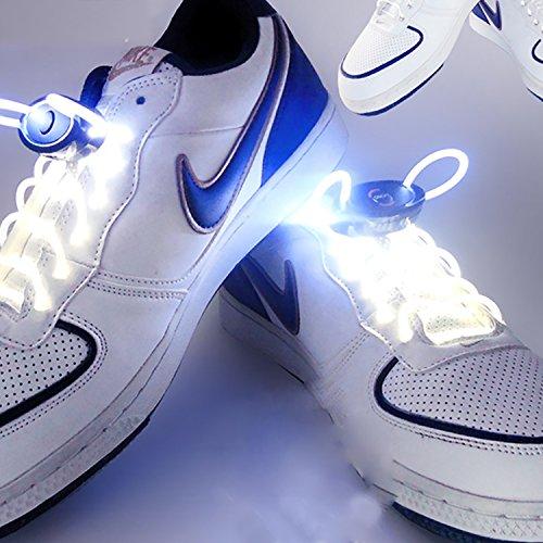 eiß RGB 1 Paar 80 cm Glow Schnürsenkel LED Sport Schnürsenkel Glow Stick Blinkt Neon Leuchtend Schnürsenkel ( Color : White ) ()