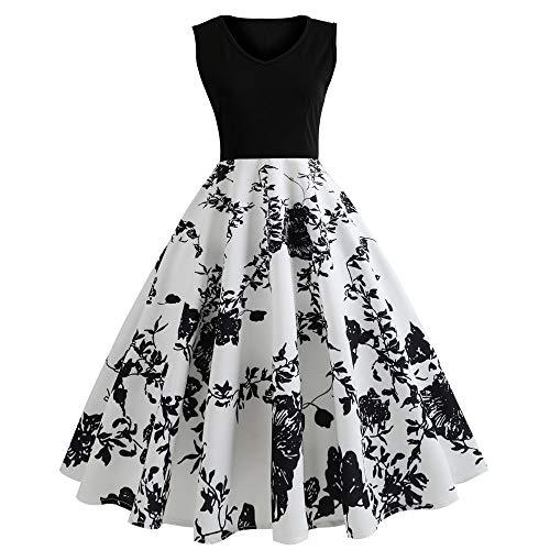 KIMODO Damen Kleid Herbst Vintage Druck Ärmelloses Abendkleid Partykleid Kleider (Schwarz, S) (Ebay Halloween-kostüme Womens)