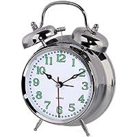 WEKSI INC/® Lautlos Elektronischer Wecker mini Nostalgischer Metall Doppelglocke Alarm Glockenwecker Wei/ß
