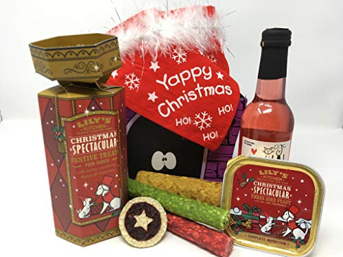 Pet Presents Christmas Day Treat Hamper for Dogs with Pawsecco Wine