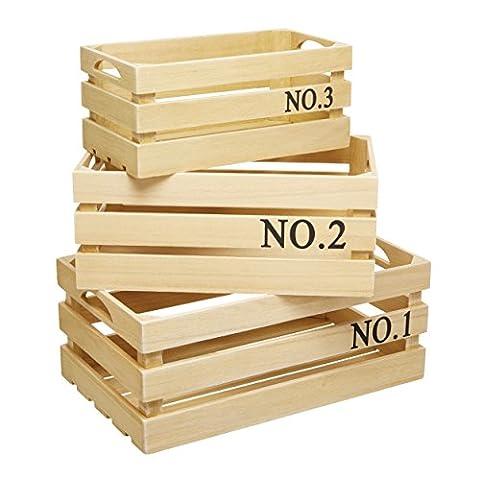 KitchenCraft Natural Elements Paulownia Wood Storage Crates, Beige, Set of